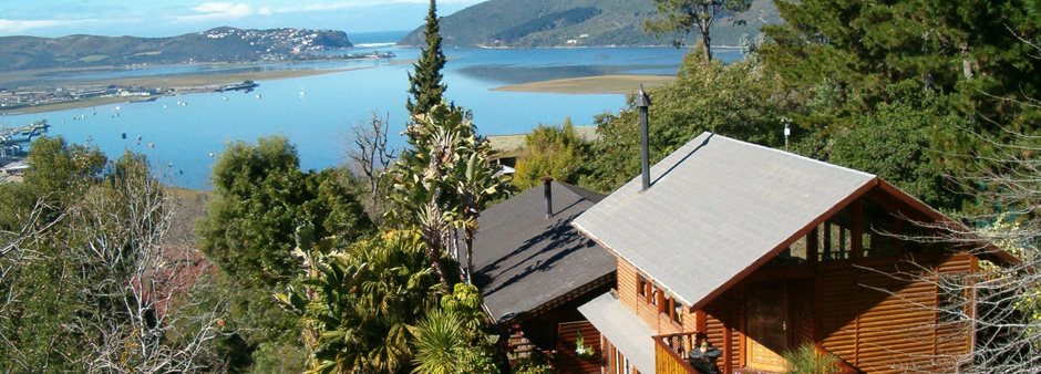 Accommodation in Knysna � the view onto the lagoon from Zauberberg Cottage
